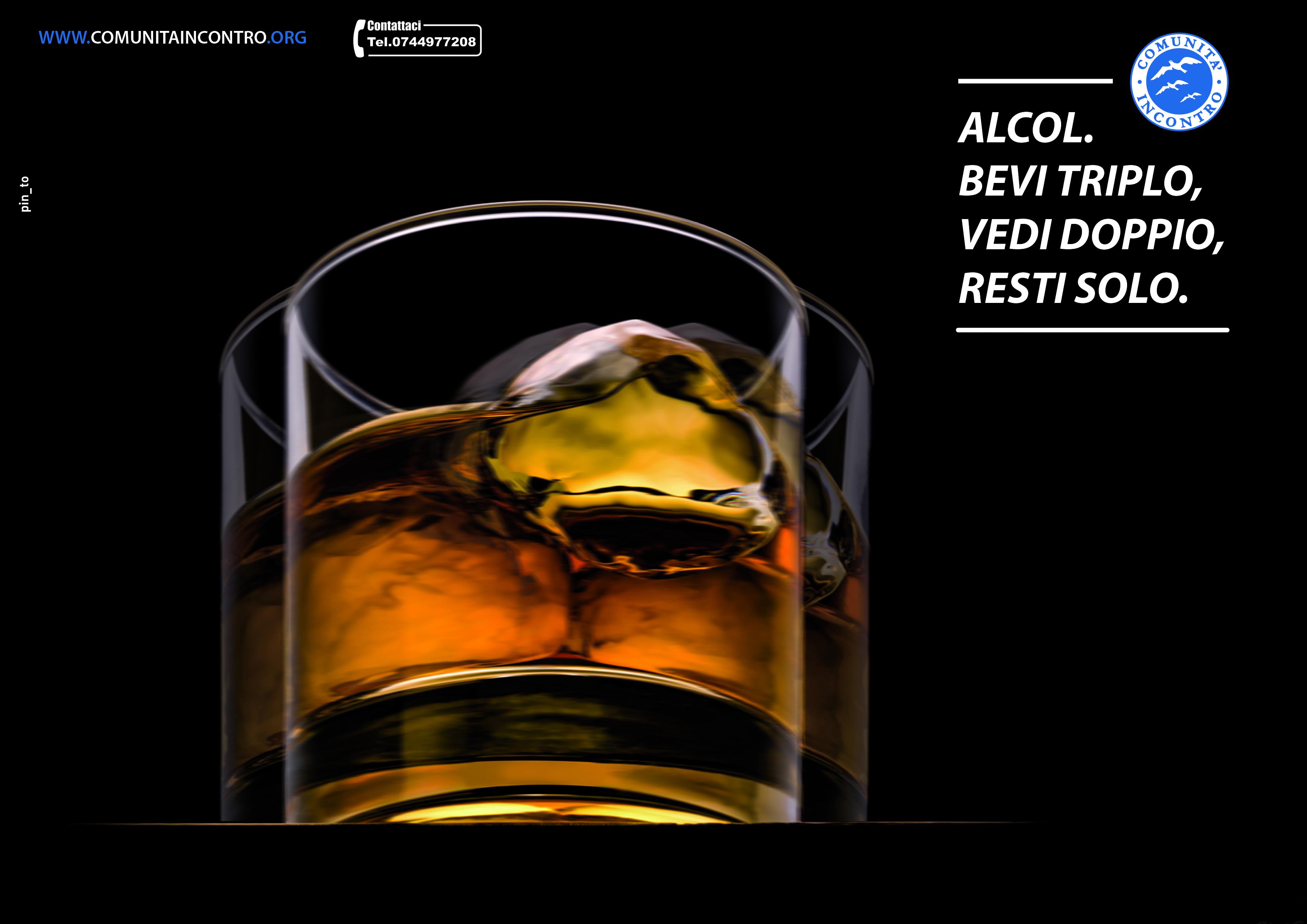 Alcol. Bevi triplo, vedi doppio, resti solo